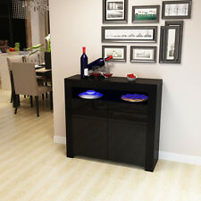 Black High Gloss Cabinet LED Sideboard Matt Cupboard With Remote Control Home