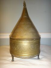 Middle Eastern Etched Brass Covered Sweet Bread Warmer Container Dovetail Box