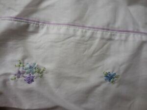 New Pottery Barn Kids Bed Skirt Blue Purple Lavender Flowers  White Full 2005