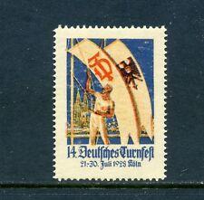 6 VINTAGE 1928 GERMAN COLORFUL POSTER STAMPS (L549) GERMANY FLAG CREST