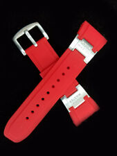 Aqua Master Mens 28mm Red Rubber Silver Buckle Watch Band Strap
