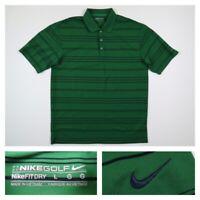 Nike Golf Mens Large Green Striped PGA Tour Performance Dri Fit Golf Polo Shirt