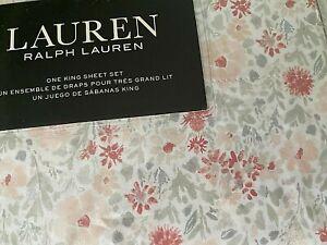 NIP RALPH LAUREN White Gray Pink King KING Sheet Set 100% Cotton Extra Deep