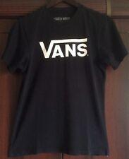 VANS black short sleeve 100% cotton T Shirt white Logo boys size Large casual