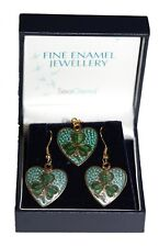Fine Enamel and Gold Plated Green Shamrock Earring and Pendant set