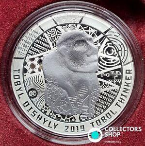 KAZAKHSTAN: Bi-color Ag+Ta coin 500 tenge 2019 TOBOL THINKER silver+TANTALUM PRF