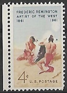 1961 - United States Frederic Remington - The Smoke Signal 4c Stamp MH SG 1186