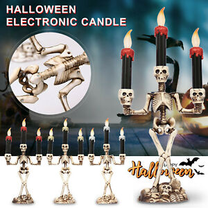 Halloween Skull Skeleton Candlestick Candle Holder Bar Home Party Candle Lamp