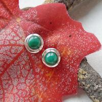 Malachit, grün, schlicht, elegant, Ohrringe, Ohrstecker, 925 Sterling Silber neu