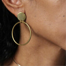 1Pair Fashion Women Gold Plated Big Circle Smooth Large Ring Hoop Earrings Chic