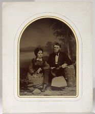 High-quality full-plate 1870s tintype young couple