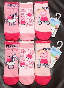 6 x Pairs of Girl's PEPPA PIG Pink Socks  U.K. Shoe Sizes 3 - 12 / EUR 19-30
