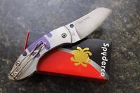 NEW Spyderco C163TIP Pingo Titanium Plain Edge ELMAX SPRINT RUN Folding Knife!