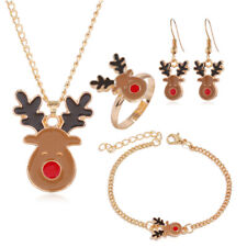 4PCS Christmas Deer Set Jewelry Necklace Earrings Ring Bracelet Christmas Gift