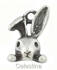 10 x Antique Silver Alice in Wonderland Rabbit Charms - 3D Rabbits