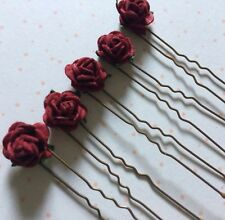 10 Small Dark Red Rose Flower Hair Pins Clips Grips Bridesmaid Wedding Seconds