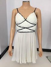 Rampage Vintage Dress Cream & Black Short Pleated Size 34 Uk 6