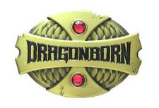 DRAGONBORN - ANTIQUE BRONZE RED STONE ENAMEL PIN BY 1980WHO