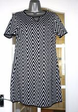 Dorothy Perkins Black and Silver Tunic Dress  - Size 12 - NEW