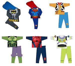 Kids Novelty Boys Pyjamas Batman Hulk Superman Spiderman Superhero PJs Nightwear