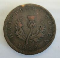 NOVA SCOTIA 1823 ONE HALF PENNY TOKEN --- RARE COIN