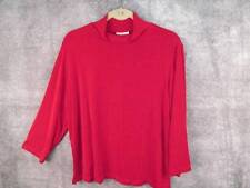 "Coldwater Creek Red Travel Knit Top XL L Lrg Career Stand-up 3/4 Slv 45-47"" Bust"