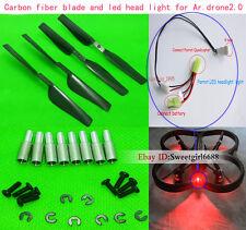 Parrot AR.Drone 2.0 Parts Carbon Fiber Blade Propeller+Red Front Led light