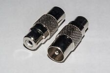 TV Coax Plug to RCA Phono Socket Adaptor - Pack of 2