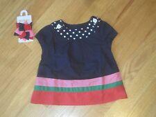 BABY INFANT Girl Gymboree STRIPED NAVY BLUE DRESS & HAIR BOW SET NWT 6m 9m 12m
