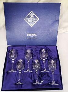 EDINBURGH CRYSTAL INTERNATIONAL 6 x WINE GLASSES (never used)