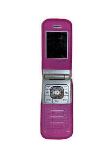 Nokia 6205 Silver and Blue Flip Phone With Pink Silicone Shock Case - No Battery