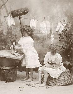 8x10 inch photo print: Children kids girls dolls 1910 restored & improved image