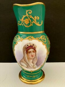 ANTIQUE SEVRES STYLE HAND PAINTED SIGNED QUENTIN JOSEPHINE PORTRET EVER GILMORE
