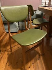 Retro Vinyl Timber Dining Chairs 60's 70's X 4