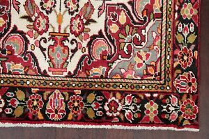 Excellent Floral Lilian Hamedan Area Rug IVORY Wool Hand-Knotted Traditional 5x8