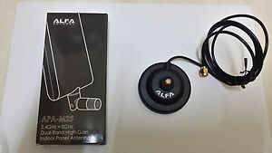 Alfa APA-M25 2.4Ghz + 5.8 GHz  10db directional antenna + Magbase 1 meter Cable
