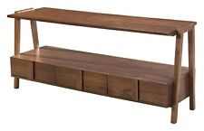 Industrial Country Farm Media TV Stand Console Table, Walnut Natural Wood, 16264