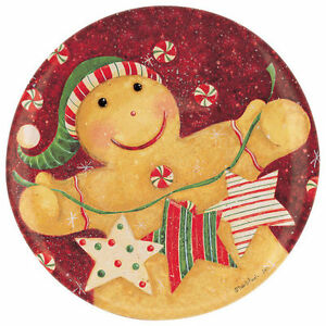 """Holiday 5"""" Mini Plate w/Stand by Carson Home Accent--GINGERBREAD Man with Stars"""