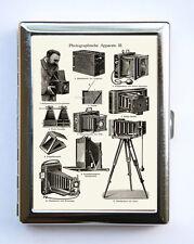 Vintage Camera Illustration Cigarette Case Wallet Business Card Holder Retro