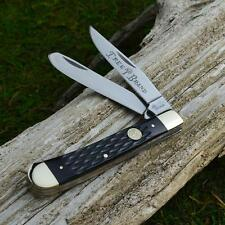 Boker Tree Brand Black Jigged Bone Trapper Pocket Knife German Made 110733