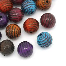 PD: 100 Mix Acryl Spacer Perlen Beads Kugel Gestreift Rund 10mm