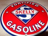"""VINTAGE """"SKELLY FORTIFIED GASOLINE"""" 11 3/4"""" PORCELAIN METAL OIL SIGN! PUMP PLATE"""