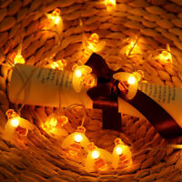 Solar/USB/Battery String Lights 10/20 LED Honey Bee Shape Xmas Garden Decor US