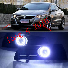 2x LED DRL Daytime Fog Lights Projector+angel eye kits For VW Passat CC 2009-12