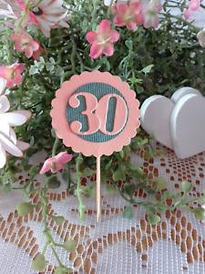 2 -Topper, Tischdeko, Geburtstag, 10, 20, 30, 40 50, 60, 70, 80, 90, Cappucake
