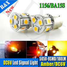 2x BA15S 6V Amber 5050 9LED SMD Tail Sidelight Indicator Parking Light Bulb P21W