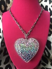 Tarina Tarantino HUGE Big Love Pastel Aurora Heart Swarovski Crystal Necklace