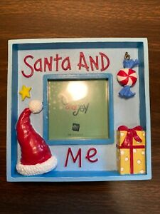 """Russ Picture/Photo Frame Hand Painted """"Santa And Me"""" Light Blue Holds 3"""" x 3"""""""
