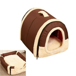 Pet House Puppy Dog Kennel Cat Soft Fleece Cozy Warm Bed with Cotton Mat