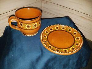 Sunflower🌻Stoneware Coffee Mug Fine Art Mexican Pottery Handmade Clay Brown